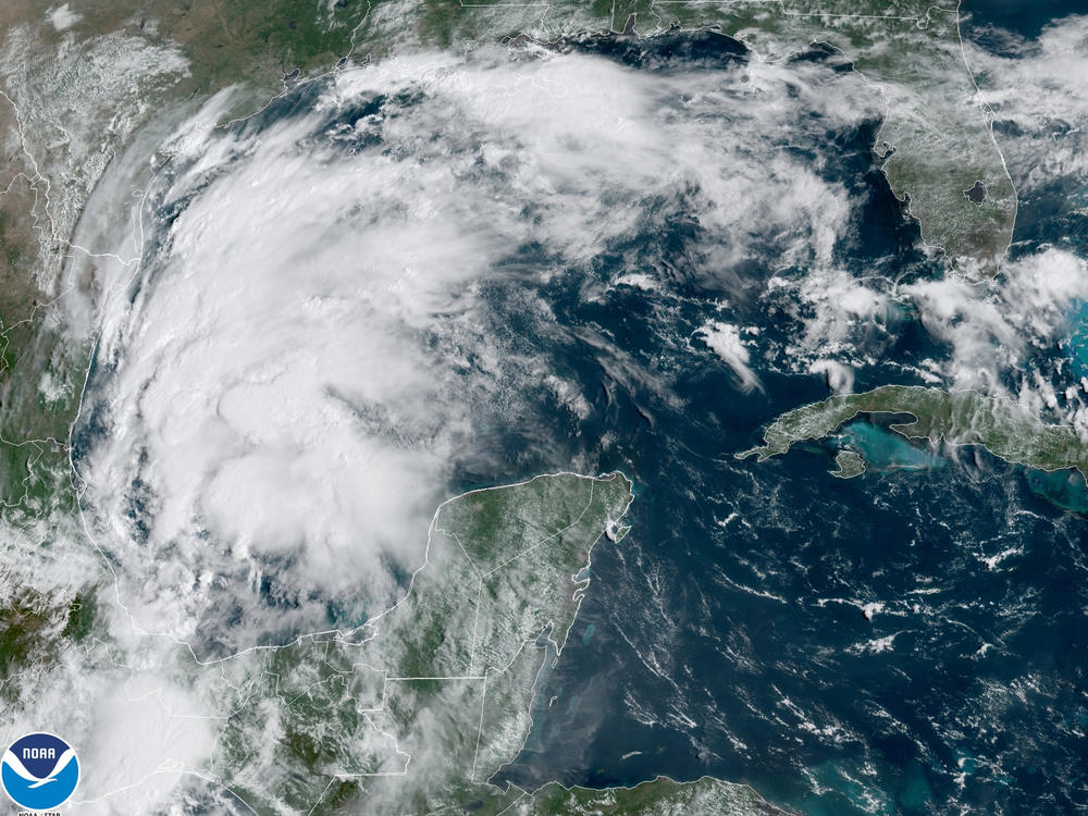 This satellite image provided by NOAA shows Tropical Storm Nicholas in the Gulf of Mexico on Sunday.