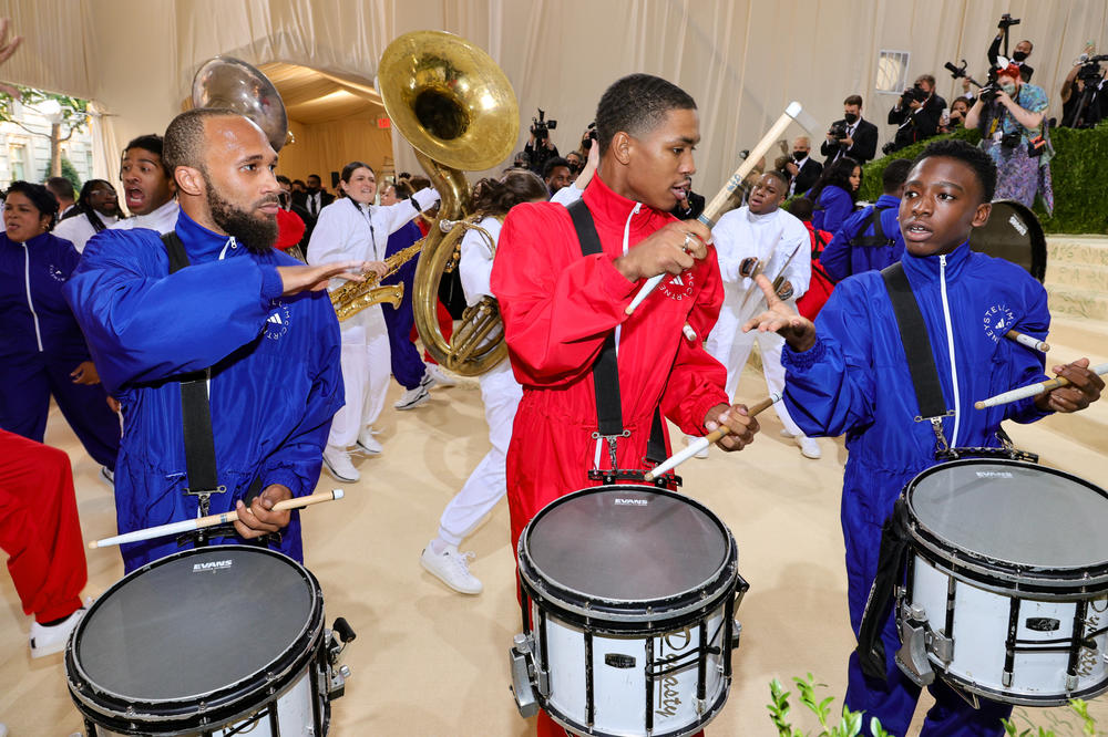 The Brooklyn United Marching Band, a group of young musicians ranging from ages 5 to 21, performs at the opening of the Met Gala.