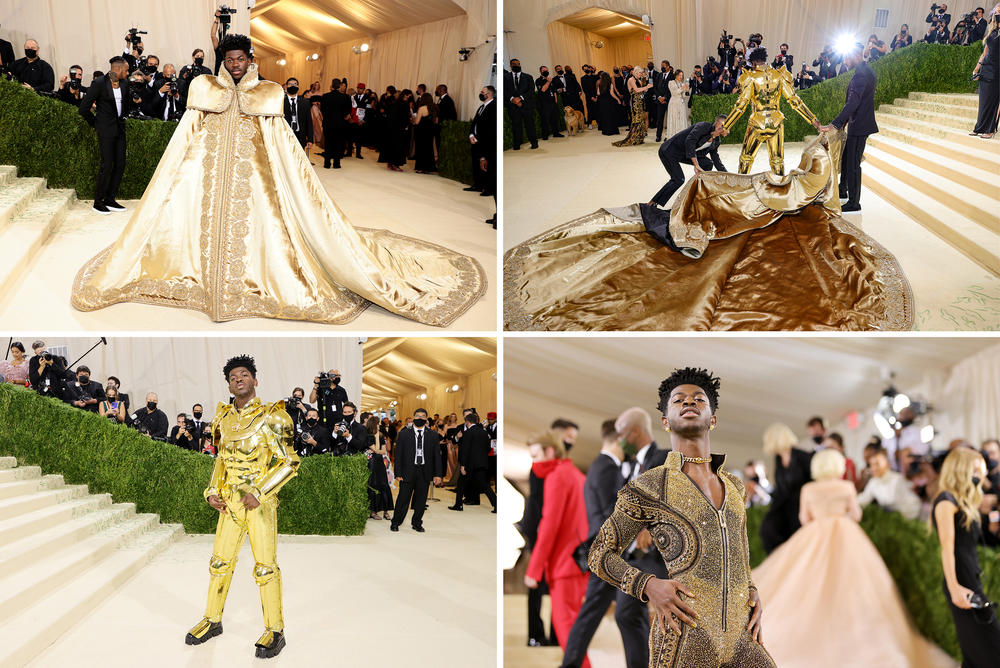 Lil Nas X dons not one, not two, but three looks, worn in layers custom-designed by Donatella Versace: a regal cape, a gold suit of armor, and a slinky bodysuit studded with crystals.