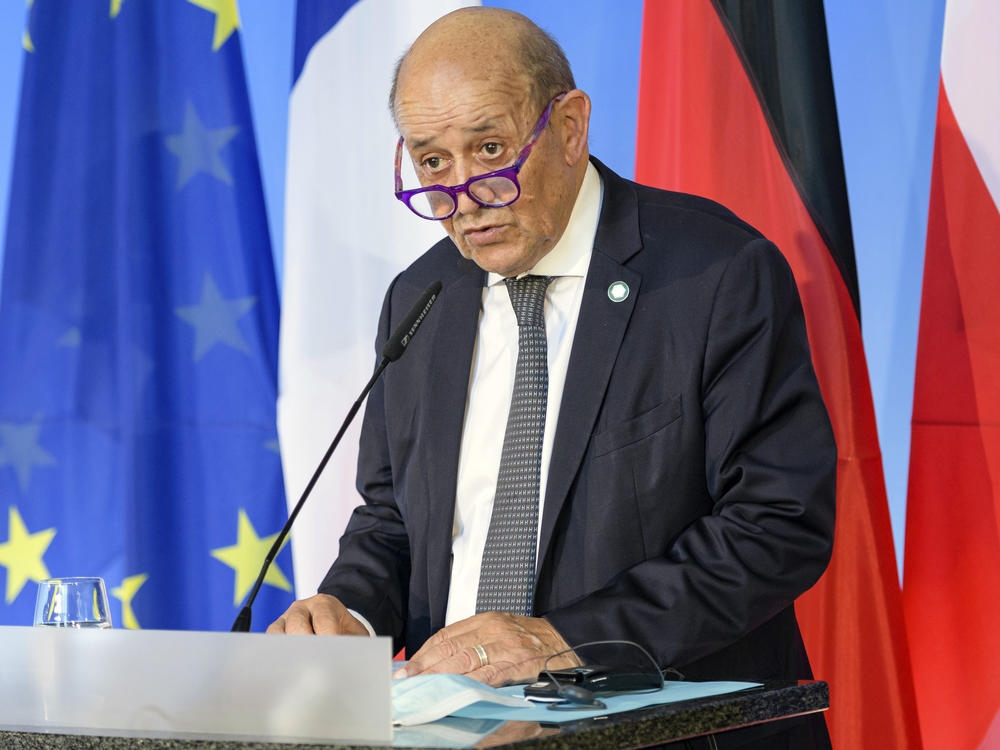 French Foreign Minister Jean-Yves Le Drian is seen on Sept. 10. France said Friday it was recalling its ambassadors to the U.S. and Australia after Australia scrapped a big French conventional submarine purchase in favor of nuclear subs built with U.S. technology.