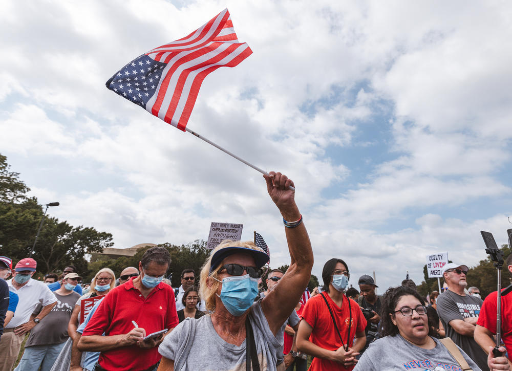 Several hundred protesters gathered for a rally in support of defendants being prosecuted in connection to the Capitol riot, in Washington, D.C.