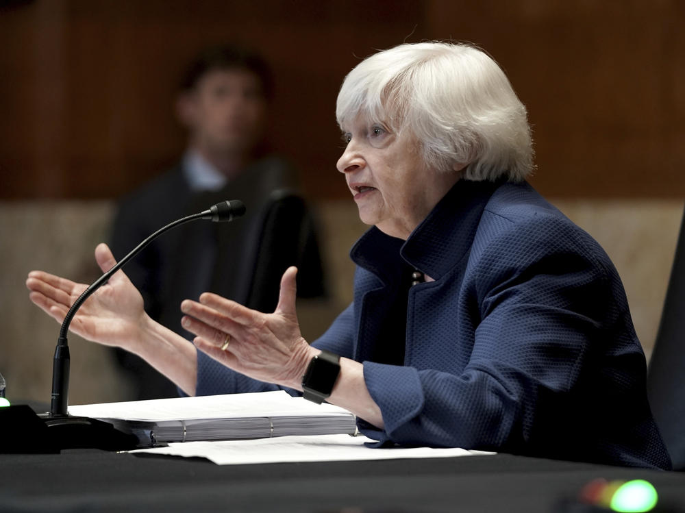 Treasury Secretary Janet Yellen testifies before a Senate Appropriations subcommittee on Capitol Hill in June. Yellen is warning of a potential