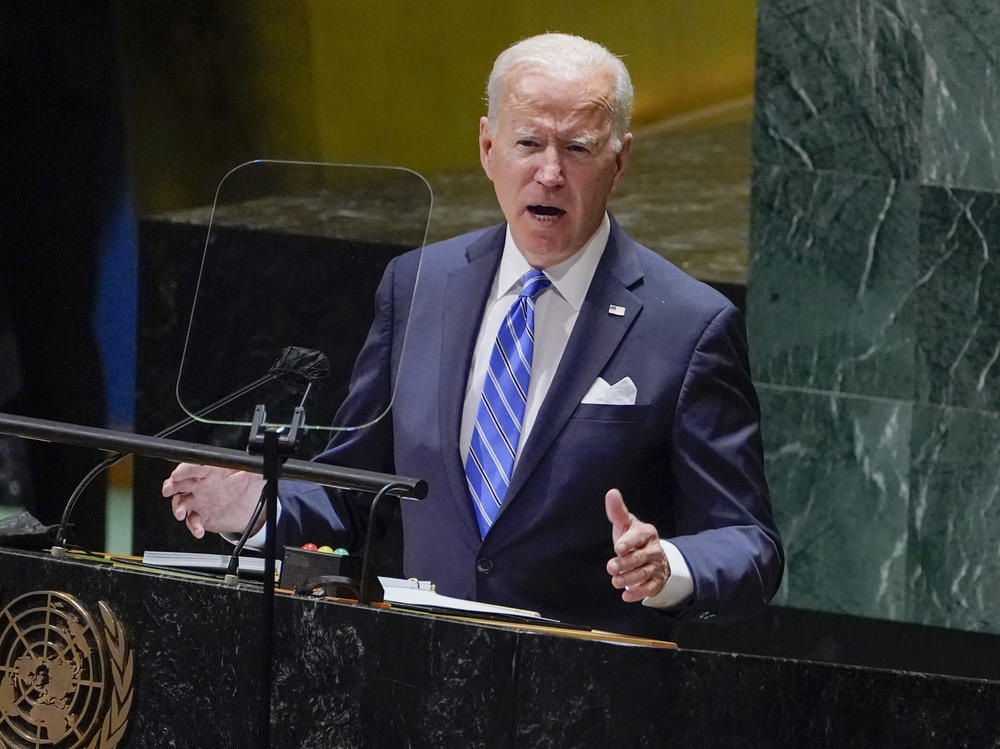 President Biden delivers remarks to the 76th Session of the United Nations General Assembly on Tuesday.