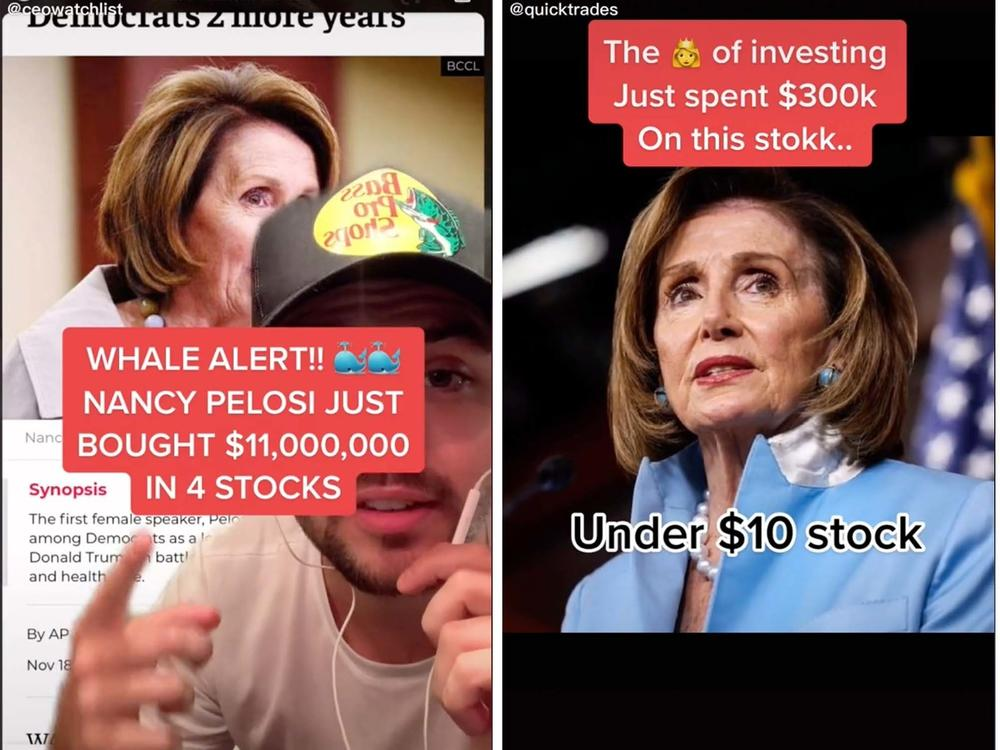 A community of young investors on TikTok, including @ceowatchlist, @quicktrades and @irisapp, are using House Speaker Nancy Pelosi's stock trading disclosures as inspiration for where to invest themselves. One user called Pelosi the market's