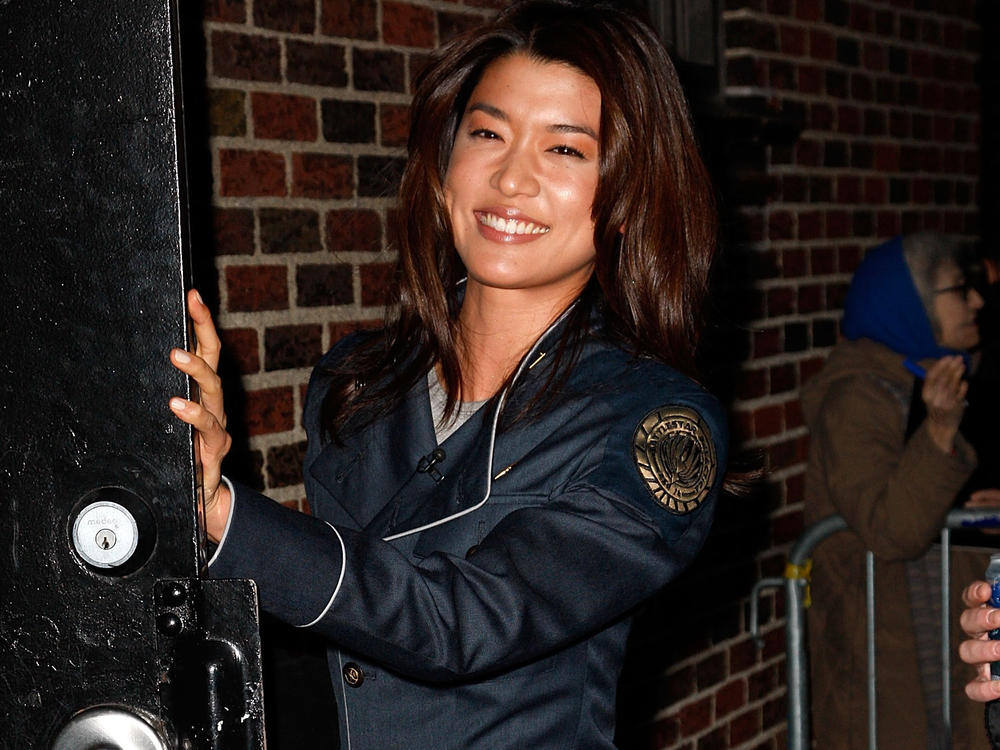 Actor Grace Park wears her <em>Battlestar Galactica</em> uniform in New York City. The costume is drawing comparisons to the U.S. Space Force's new uniforms.