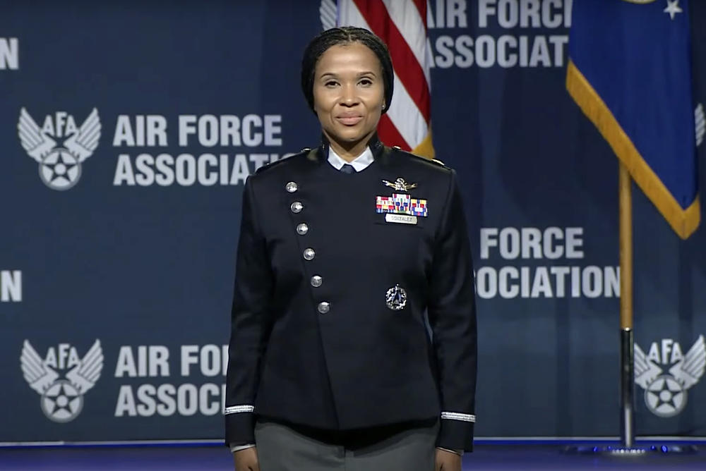 The U.S. Space Force unveiled prototypes for its new service dress uniforms at this year's Air, Space & Cyber Conference.