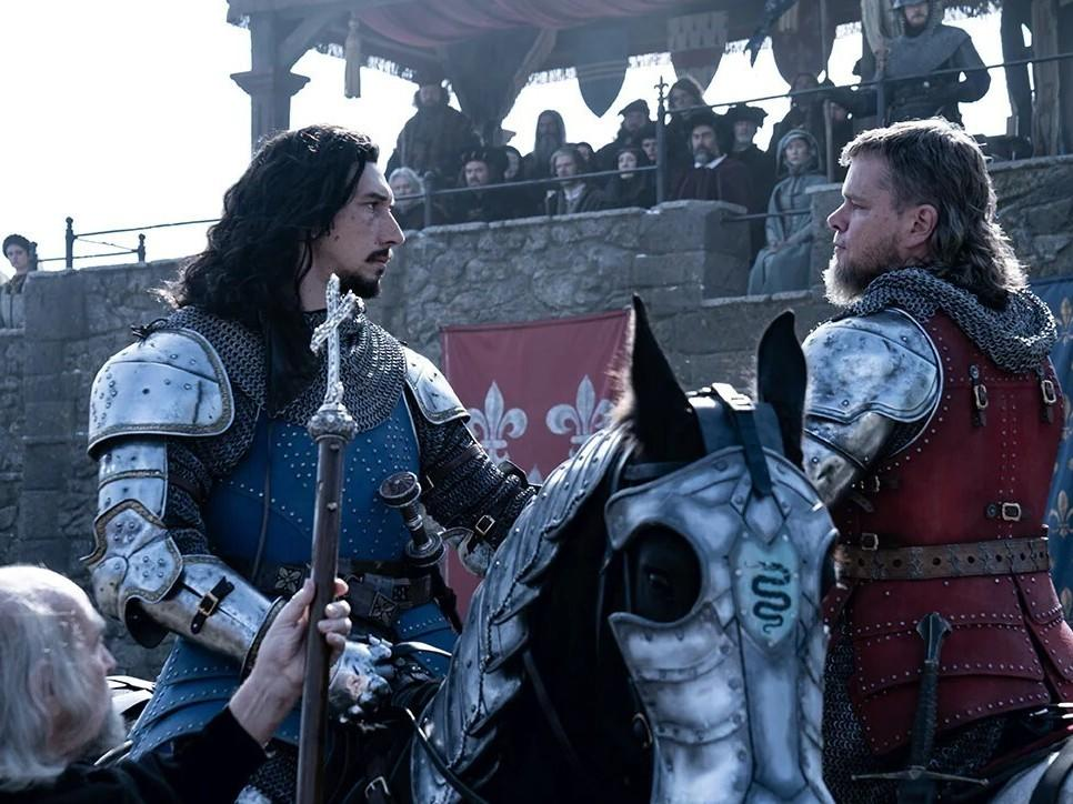 Adam Driver and Matt Damon play real-life combatants Jacques Le Gris and Sir Jean de Carrouges in<em> The Last Duel.</em>