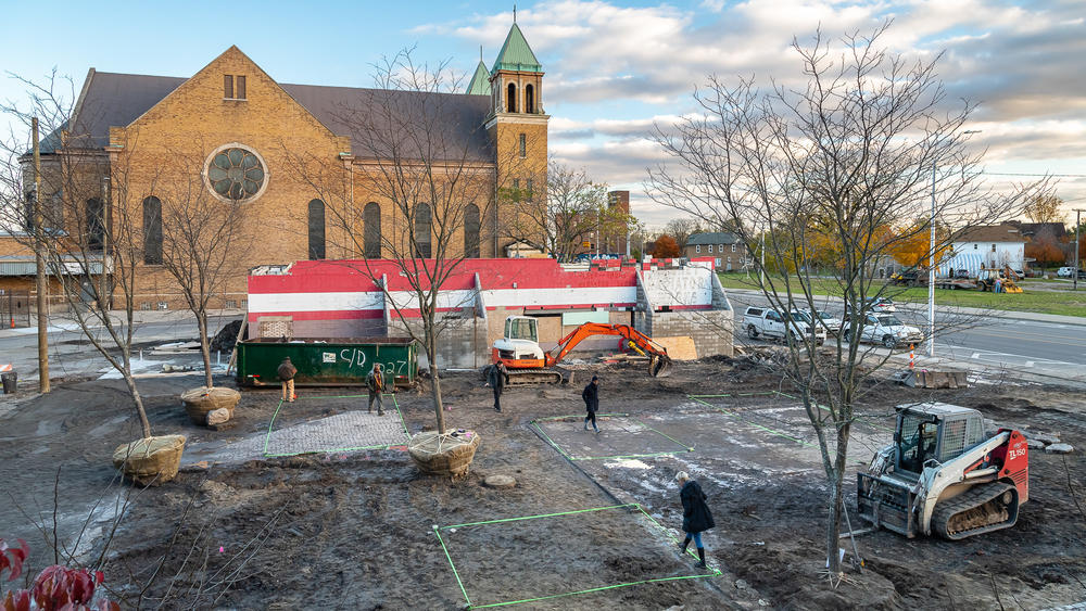 Core City Park under construction in Detroit, Mich. The design added greenspace and new local businesses to a distressed commercial corridor.