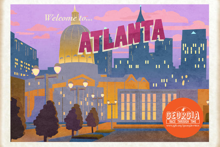 Colorful Atlanta postcard