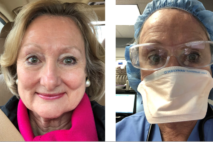 Dr. Patricia Meadors without PPE (left) and in full mask, googles and cap.