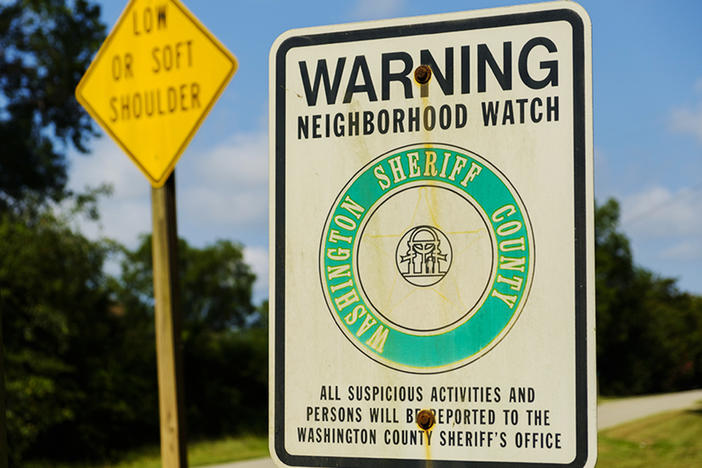 Neighborhood Watch sign at the limits of the town of Deepstep in Washington County where Eurie Martin was killed in 2017.