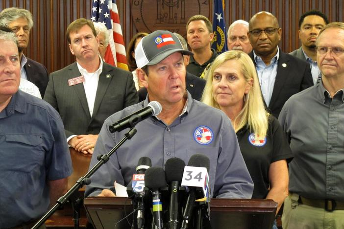 Georgia Gov. Brian Kemp discusses evacuations and emergency plans for Hurricane Dorian during a news conference Monday, Sept. 2, 2019, in Savannah, Ga. Kemp ordered a mandatory evacuation affecting all of Georgia's six coastal counties.