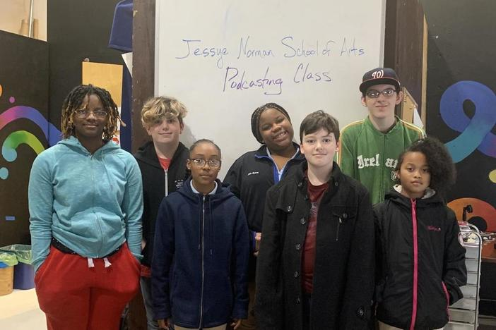 Students from the Jessye Norman School of the Arts, who are reporting for the podcast (l to r): Essence Willingham, Atticus Dillard-Wright, Kaleisha Sullivan, Jalia Burns, Aiden Allen, Thomas Collins, and Gabbie Stallings.