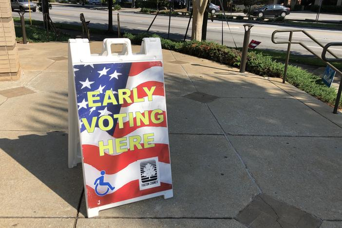 A voting sign outside of a polling location in Atlanta.