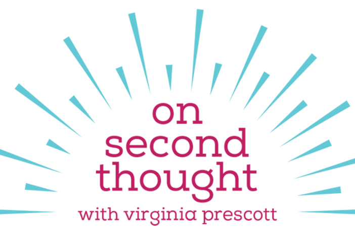 "The ""On Second Thought"" pink and blue logo."