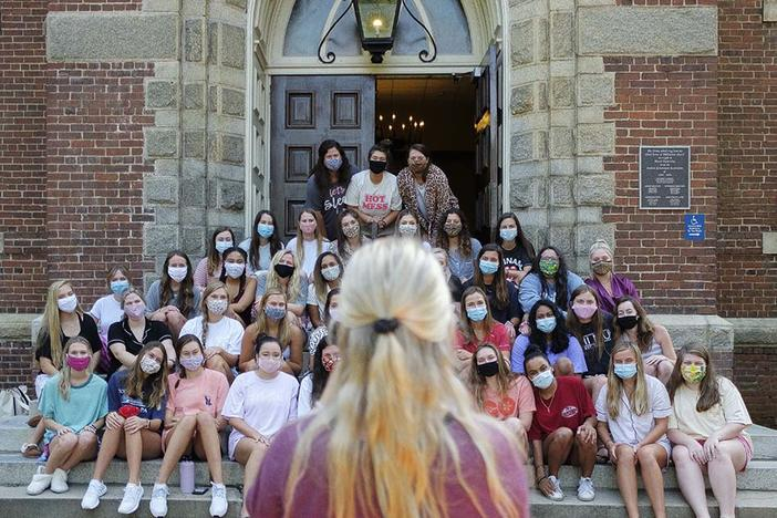 Mercer University students pledging the Phi Mu sorority pose for a group photo outside Willingham Hall on the Macon campus recently.