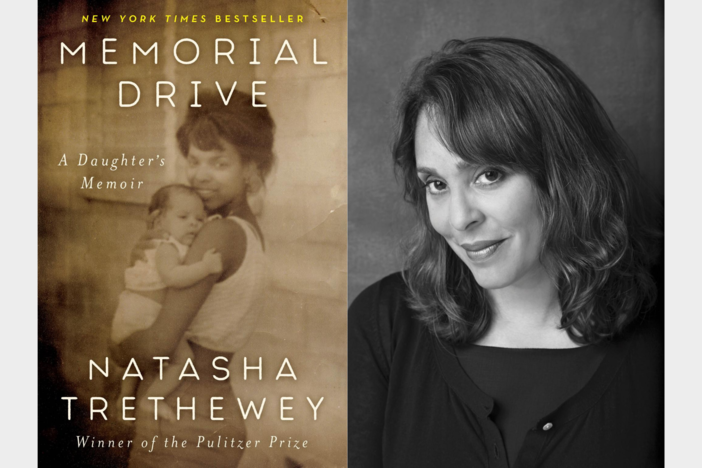 "On the left, the cover of Natasha Trethewey's new memoir, ""Memorial Drive,"" is a sepia-toned photo of her young mother holding a baby; on the right, a black-and-white photo of Natasha Trethewey."
