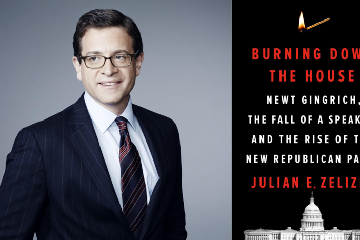 "On the right, a photo of Julian Zelizer wearing glasses, a dark suit jacket, a white shirt and a tie looking slightly towards the left; on the right, a book cover for Zelizer's new book, ""Burning Down The House"" with a photo of the Capitol building at the bottom."