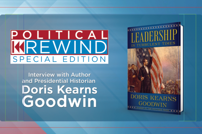 An image showcasing Goodwin's book, Leadership in Turbulent Times.