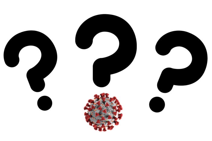 A graphic of three question marks but one has a virus on it.