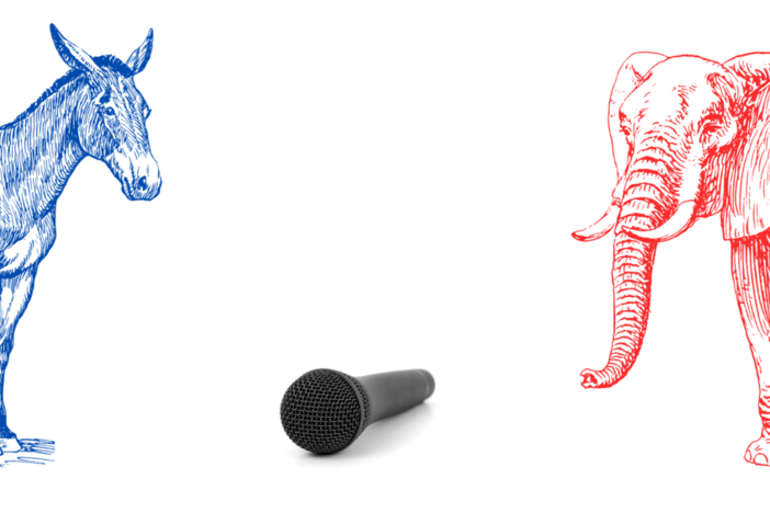 An illustration of a donkey (for a Democrat) and an elephant (for a Republican) facing off at a microphone.