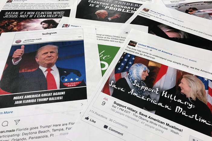 FILE - This Nov. 1, 2017 file photo shows printouts of some of the Facebook and Instagram ads linked to a Russian effort to disrupt the American political process and stir up tensions around divisive social issues, released by members of the U.S. House Intelligence committee, photographed in Washington. (AP Photo/Jon Elswick, File)