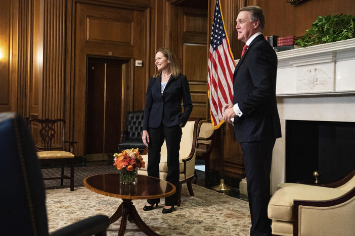 Judge Amy Coney Barrett, President Donald Trumps nominee for the U.S. Supreme Court, meets with Sen. David Perdue, R-Ga., on Capitol Hill in Washington, Wednesday, Sept. 30, 2020.