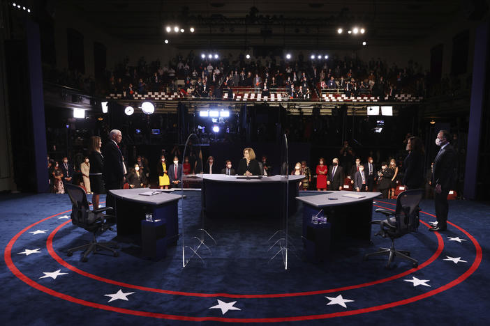 The view of the stage from the Vice Presidential debate.