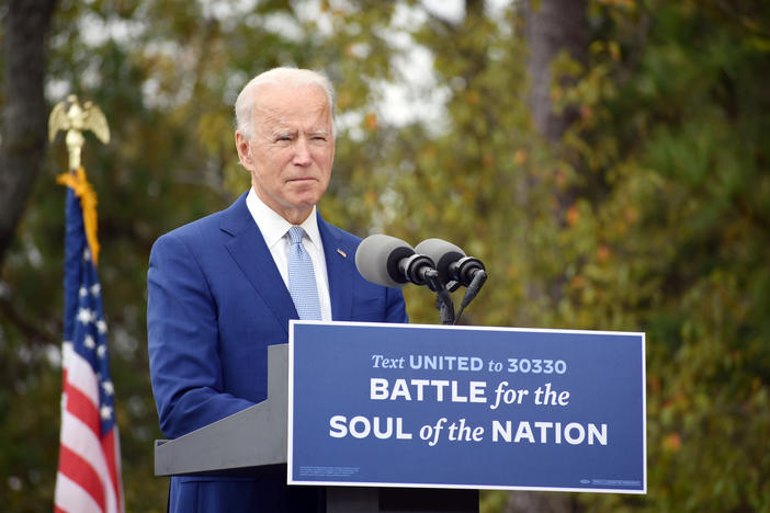 Former vice president Joe Biden made a closing pitch to voters casting himself as a healing and unifying force for America at a campaign stop in Warm Springs, Ga. one week before Election Day.