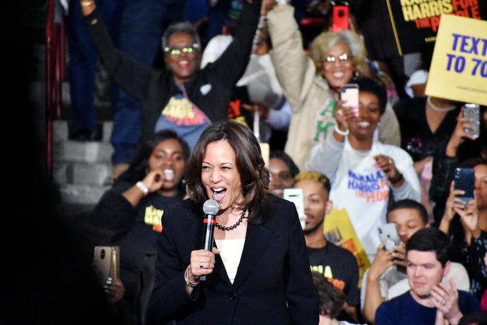 Democratic vice presidential nominee Kamala Harris speaks at a rally for her then-presidential run in Atlanta March 24, 2019.