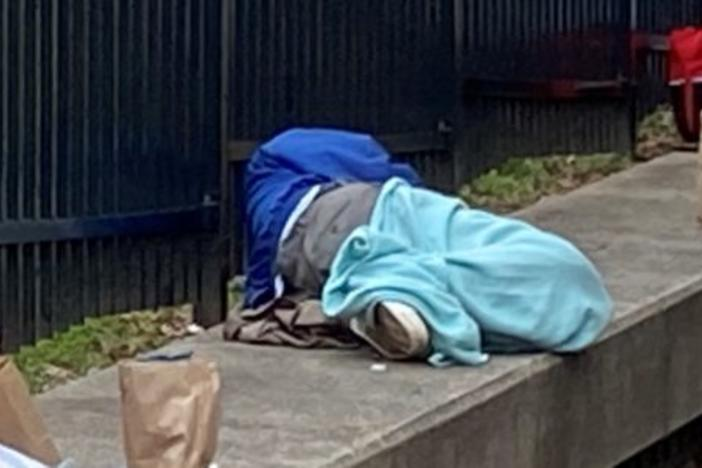 Homeless person on streets of Atlanta