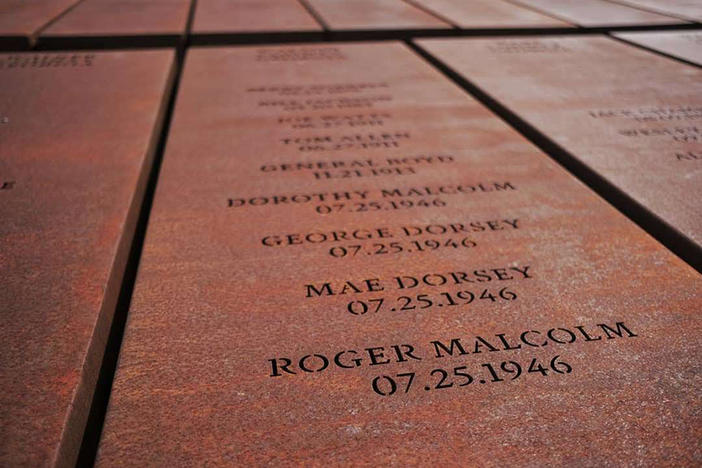 The names of the four victims of the Moore's Ford Bridge lynching, enscribed at National Memorial for Peace and Justice in Montgomery, Ala.