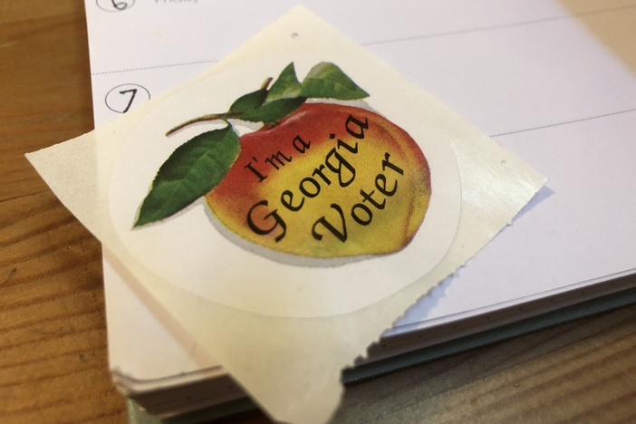 A sticker received by voters after casting their ballots.