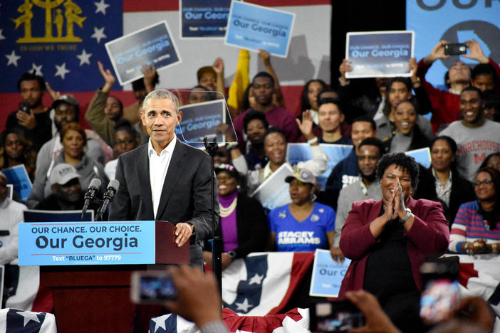 Former president Barack Obama campaigns for Democratic gubernatorial nominee Stacey Abrams in 2018.