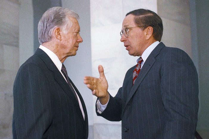 Sen. Sam Nunn (D-Ga.), right, gestures while talking to former President Jimmy Carter on Capitol Hill in Washington, March 31, 1992. Carter was in Washington to discuss the Atlanta Project, a program of the Carter Center, which seeks to bring together civil, religious, and business leaders and government agencies to work in Atlanta's poorest neighborhoods.