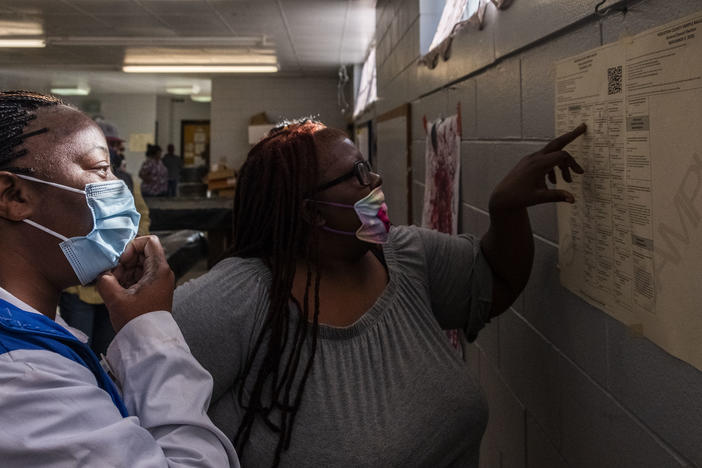 Two women examine a sample ballot on the wall of polling location in Warner Robins, Georgia.