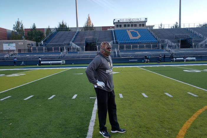 Decatur coach William Felton at stadium