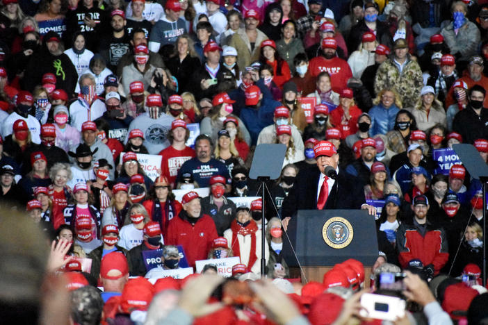President Donald Trump spoke for 50 minutes at a campaign rally in Rome, Ga. Sunday, Nov. 1, 2020.
