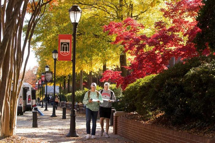 Students walking on campus of UGA