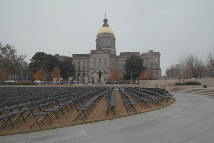 1000 empty chairs outside the Georgia state Capitol