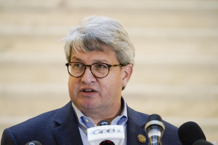 Gabriel Sterling a top Georgia elections official speaks on Monday, Nov. 30, 2020, during a news conference in Atlanta. On Tuesday Dec. 1, 2020, Sterling called on President Donald Trump to condemn supporters who have threatened violence against election officials. (AP Photo/Brynn Anderson)