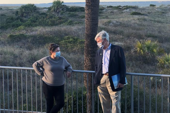 US Sen. Sheldon Whitehouse (D-RI) and Maria Procopio of the Tybee Island Marine Science Center