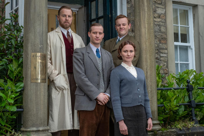 Shown: Top Left: Siegfried Farnon (Samuel West); Top Right: Tristan Farnon (Callum Woodhouse); Middle: James Herriot (Nicholas Ralph); Bottom: Mrs Hall (Anna Madeley)