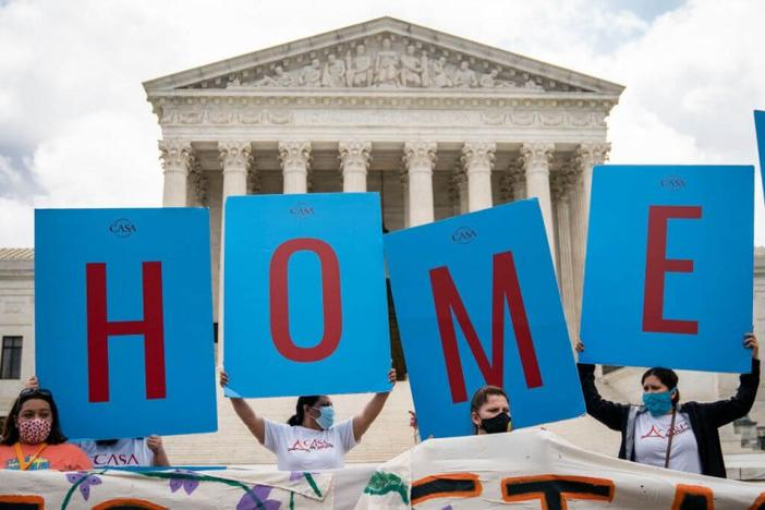 DACA recipients in front of Supreme Court