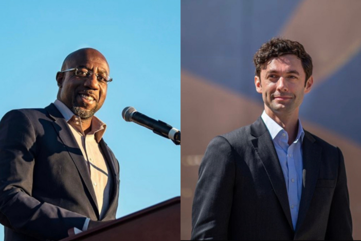 A splitscreen image of Reverend Raphael Warnock and Jon Ossoff.