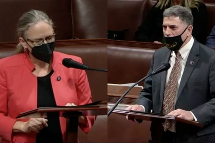 A split image of Carolyn Bourdeaux and Andrew Clyde during impeachment proceedings in Congress.