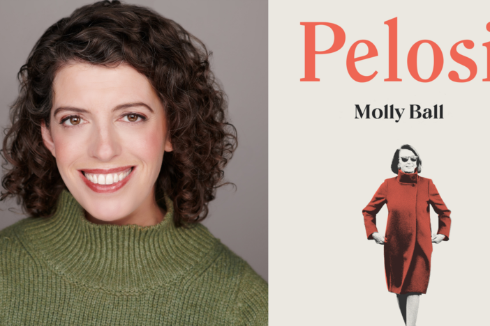 A side-by-side shot of author Molly Ball and her new book Pelosi.