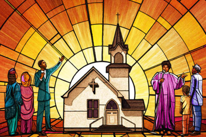 An illustration of people and a church in the style of a stained glass window.