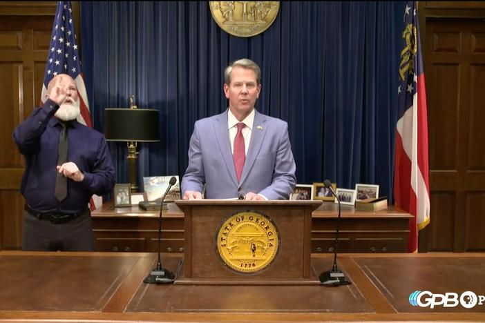 Gov. Brian Kemp addresses the public after signing SB 202, the election omnibus bill, on Thursday, March 25, 2021.