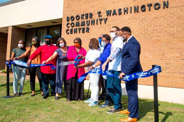 Ribbon cutting at newly renovated Booker T. Washington Community Center in Macon